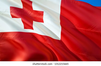 Flag of Tonga. 3D Waving flag design. The national symbol of Tonga, 3D rendering. National colors of Tonga 3D Waving sign background design. 3D ribbon, wallpaper, pattern background