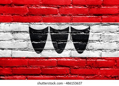 Flag of Trebic, Czechia, painted on brick wall