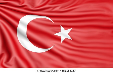 Flag of Turkey, 3d illustration with fabric texture