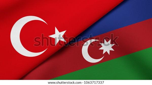 Flag Turkey Azerbaijan Stock Illustration 1063717337