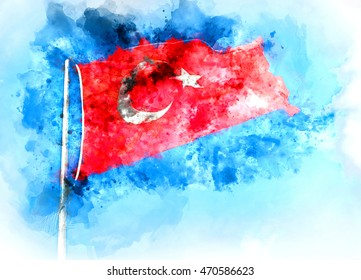 Flag of Turkey. Digital watercolor painting