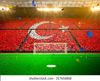 Flag Turkey of fans. Evening stadium arena Yellow