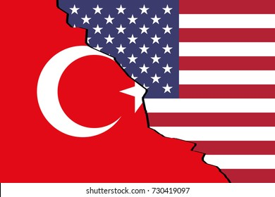 The flag of Turkey and the United States placed side by side with crack dividing the two