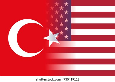 The flag of Turkey and the United States placed side by side and a US Visa border on top.