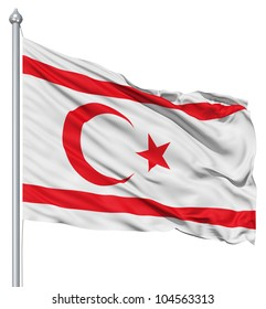 Flag of Turkish Republic of Northern Cyprus with flagpole waving in the wind against white background