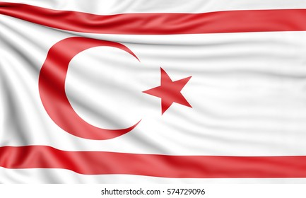 Flag of the Turkish Republic of Northern Cyprus, 3d illustration with fabric texture