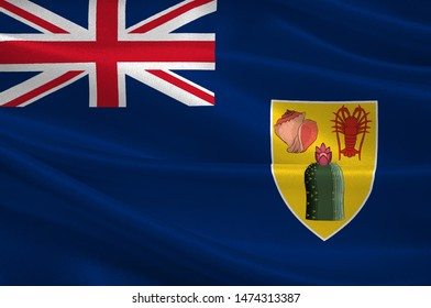 Flag of Turks and Caicos Islands are a British Overseas Territory consisting of the larger Caicos Islands and smaller Turks Islands. 3d illustration