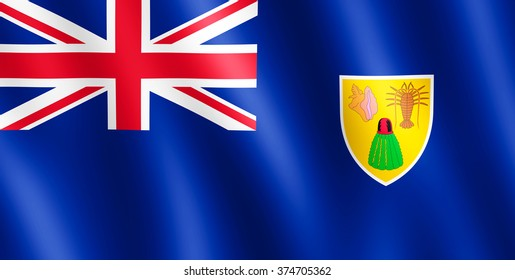 Flag of Turks and Caicos Islands waving in the wind giving an undulating texture of folds in the fabric. The Image is in the official ratio of the flag - 1:2.