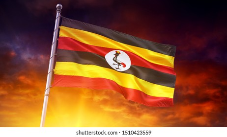 Flag UGANDA UG 4k 3d render