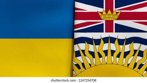 Flag of Ukraine and British Columbia