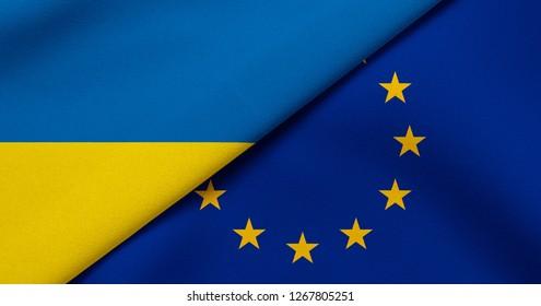 Flag of Ukraine and European Union