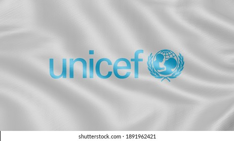 Flag of UNICEF. Realistic waving flag 3D render illustration with highly detailed fabric texture.