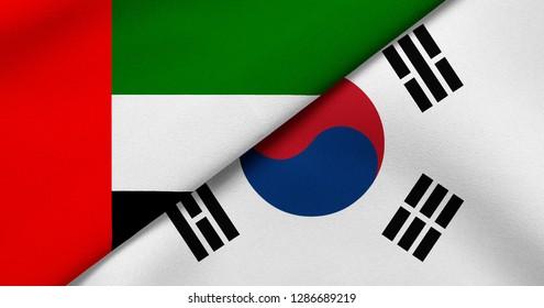 Flag of United Arab Emirates and South Korea