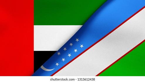 Flag of United Arab Emirates and Uzbekistan