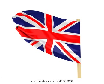 Flag of the United Kingdom of Great Britain on pole on white background. High quality 3d render.