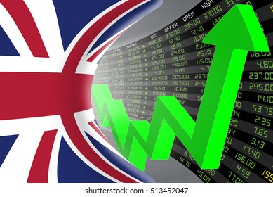 Flag of the United Kingdom with a large display of daily stock market price and quotations during economic booming period. The fate and mystery of the UK stock market, tunnel concept. 3d illustration.