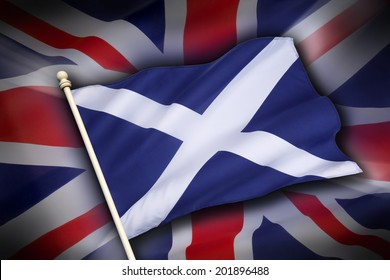 The flag of the United Kingdom (The Union Flag) and the flag of Scotland, the Saltire - Scottish Independence