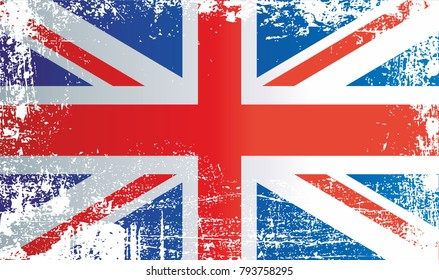 Flag of the United Kingdom, Union Jack, United Kingdom of Great Britain  and Northern Ireland, Wrinkled dirty spots. Can be used for design, stickers, souvenirs