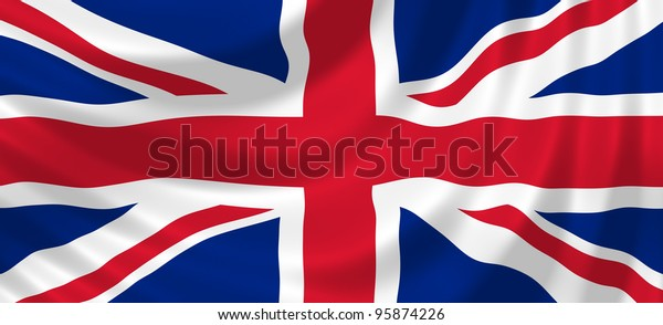 Flag of United Kingdom waving in the wind detail