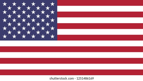 Flag of the United States. 50 stars and 13 stripes.