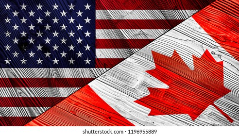Flag of the United States of America and Canada on wooden planks