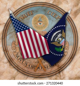 Flag of the United States of America with the flag of the president ,and Reverse side of United States of America Great Seal