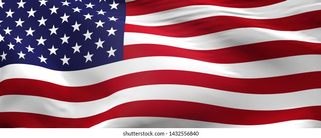 Flag of the United States of America using as panorama background, 3d rendering