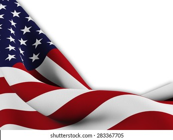 Flag of the United States ,close up  with  sinuous motion wave on white background