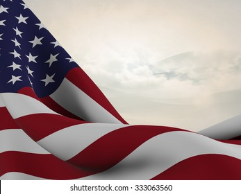 Flag of the United States ,close up  with  sinuous motion wave on abstract background with waves and clouds