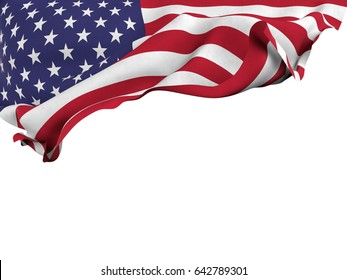 Flag of the United States shot ,isolated while waving on a white background.3D Rendering