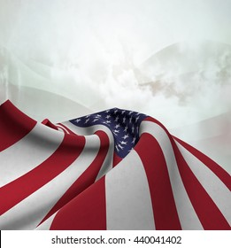 Flag of the United States silky,  fantastic close up shot ,masterfully folded  and resting on an abstract background-3d rendering