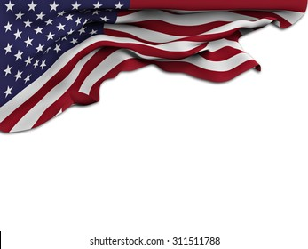 Flag of the United States waving and fluttering on white background