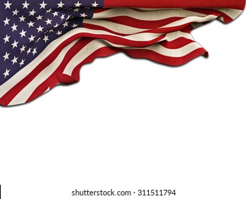 Flag of the United States waving and fluttering on white background,grunge effect