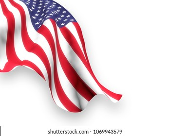 Flag of the United States waving and leaving visible a white background. 3D Rendering