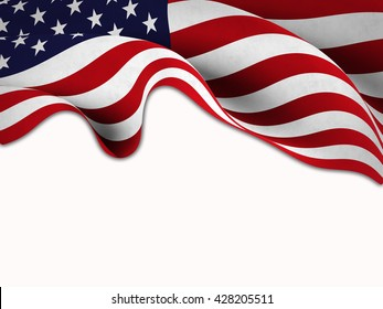 Flag of the United States waving on a white background