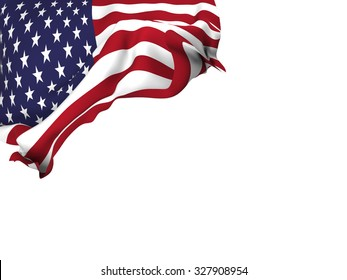 Flag of the United States waving over corner page with a withe background