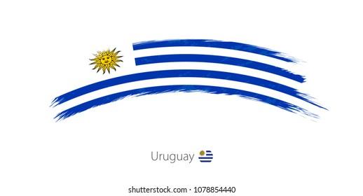 Flag of Uruguay in rounded grunge brush stroke. Raster copy.