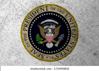 Flag of US President Seal, USA, on a grunge metal texture