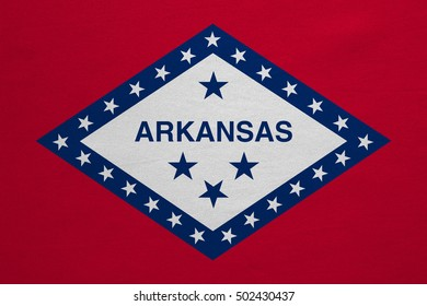 Flag of the US state of Arkansas. American patriotic element. USA banner. United States of America symbol. Arkansan official flag with real detailed fabric texture, illustration. Accurate size, colors