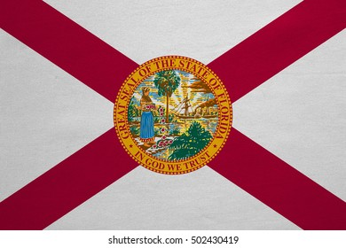 Flag of the US state of Florida. American patriotic element. USA banner. United States of America symbol. Floridian official flag with real detailed fabric texture, illustration. Accurate size, colors