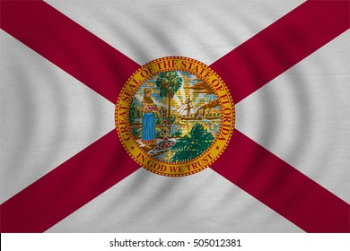 Flag of the US state of Florida. American patriotic element. USA banner. United States of America symbol. Floridian official flag wavy with detailed fabric texture, illustration. Accurate size, colors