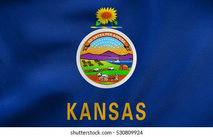 Flag of the US state of Kansas. American patriotic element. USA banner. United States of America symbol. Kansan official flag waving in the wind, real detailed fabric texture. 3D illustration