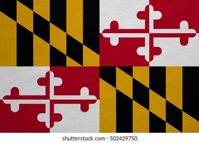 Flag of the US state of Maryland. American patriotic element. USA banner. United States of America symbol. Maryland official flag with real detailed fabric texture, illustration. Accurate size, colors