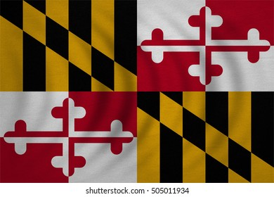 Flag of the US state of Maryland. American patriotic element. USA banner. United States of America symbol. Maryland official flag wavy real detailed fabric texture, illustration. Accurate size, colors