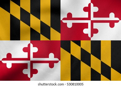 Flag of the US state of Maryland. American patriotic element. USA banner. United States of America symbol. Maryland official flag waving in the wind, real detailed fabric texture. 3D illustration