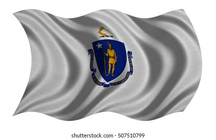 Flag of the US state of Massachusetts. American patriotic element USA banner. United States of America symbol. Massachusettsan official flag detailed fabric texture wavy isolated on white illustration