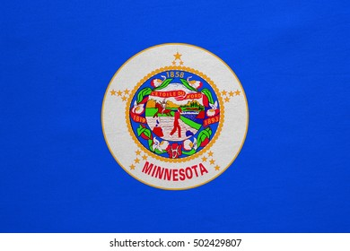 Flag of the US state of Minnesota. American patriotic element. USA banner. United States of America symbol. Minnesotan official flag, real detailed fabric texture, illustration. Accurate size, colors