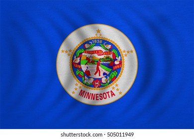 Flag of the US state of Minnesota. American patriotic element. USA banner. United States of America symbol. Minnesotan official flag wavy detailed fabric texture, illustration. Accurate size, colors