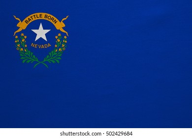 Flag of the US state of Nevada. American patriotic element. USA banner. United States of America symbol. Nevadan official flag with real detailed fabric texture, illustration. Accurate size, colors