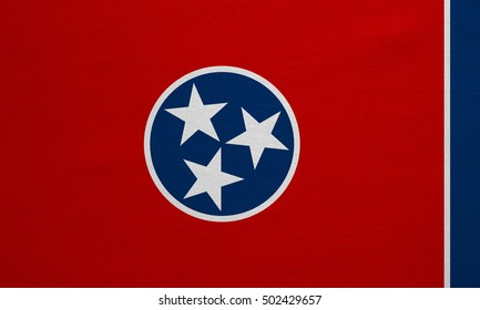 Flag of the US state of Tennessee. American patriotic element. USA banner. United States of America symbol. Tennessean official flag, real detailed fabric texture, illustration. Accurate size, colors